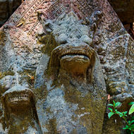 Naga head stone carving at the east entrance causeway of the Beng Mealea temple.