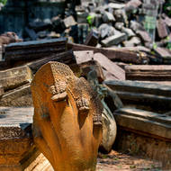 Naga head stone carving, rescued for incorporation in to restoration works at Beng Mealea temple.