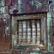 Laterite masonry and window detail of the Prasat Thom temple.