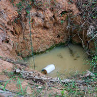 Household hand dug water well.