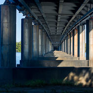 Under the lifting section bridge over the Clarence River on the Pacific Highway.