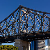 Story Bridge Kangaroo Point abutment and Brisbane city behind.