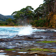 Looking south over the waves breaking on the Tessellated Pavement to Eaglehawk Neck.