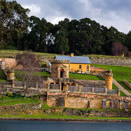 Guard tower and officers' quarters at Port Arthur convict prison.