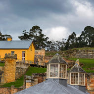 Across the low roof of the penitentiary to the officers' quarters at Port Arthur convict prison.