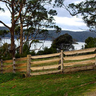Split timber fence around the Commandant's house at the Port Arthur convict prison.