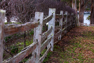 Thumbnail image ofSplit timber fence at Commandant's house at the...