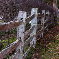 Split timber fence at Commandant's house at the Port Arthur convict prison.