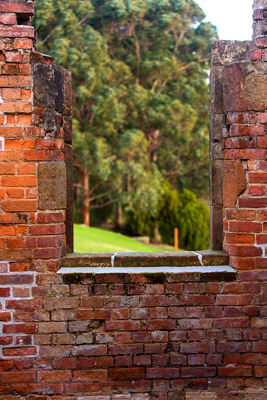Thumbnail image ofOld hand made bricks of the wall of the prison...