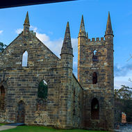 Left side view of Port Arthur prison church.