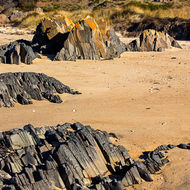 Layered and colored rocks protrude from the sands of Cressy Beach.