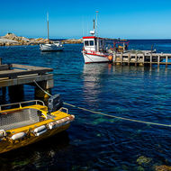 Fishing boat harbor and wharf at Bicheno.