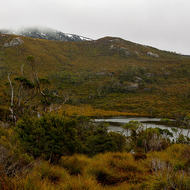 Lake Lilla nestles in a depression in front of Wombat Peak.