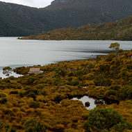 The southerly minor peak (Smithies Peak) of Cradle Mountain over Dove Lake.