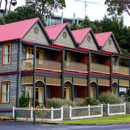 Well-presented harbor side apartments in the Macquarie Harbour town of Strahan.