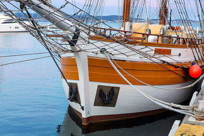 Thumbnail image ofThe well-kept Lady Nelson at Constitution Dock.