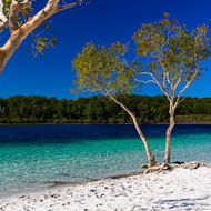 White sand and blue sky: Lake McKenzie.