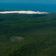 View east over Fraser Island towards a sandblow and the South Pacific Ocean.