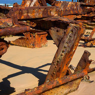 Rusting rib, the wrecked ship Maheno on the east cost of Fraser Island.
