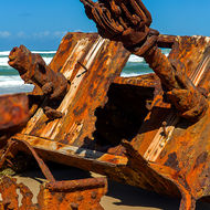 Clawing towards the sky, the wrecked ship Maheno on the east cost of Fraser Island.