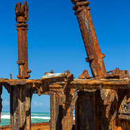 Cable free, the wrecked ship Maheno on the east cost of Fraser Island.