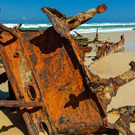 The stern of the wrecked Maheno on the east cost of Fraser Island.