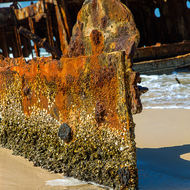 Rusting away, the wrecked Maheno.