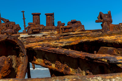 Thumbnail image of Rusting deck structure and bollard of the wrecked...