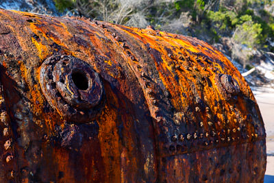 Thumbnail image of Riveted shell of an old boiler, rusting away on...