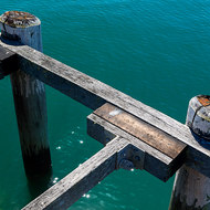 Sturdy fender of Kingfisher Bay jetty.