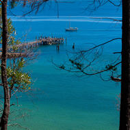 Kingfisher Bay jetty, Great Sandy Strait and the Australian mainland from Fraser Island.