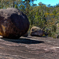 Granite boulders resting on the granite sheet.