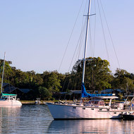Yachts at rest, early morning on Noosa River.