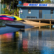 Boat hire depot on Noosa River.