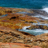Rocks and tidal pools at the point at South West Rocks.