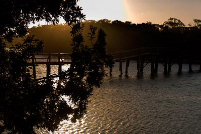 Thumbnail image ofSunset over the footbridge over Deep Creek.