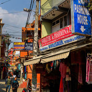 Busy, narrow streets of Thamel district.