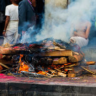 Fire looks good and hot to complete the cremation.