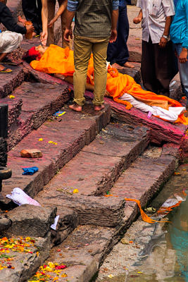 Thumbnail image ofA body is laid out for the ritual washing of the...