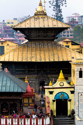 Thumbnail image ofView over the central pagoda within the Pashupati...