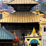 View over the central pagoda within the Pashupati temple.