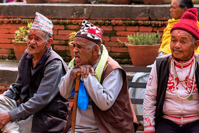 Thumbnail image ofResidents of an old person's home within the Pashupati...