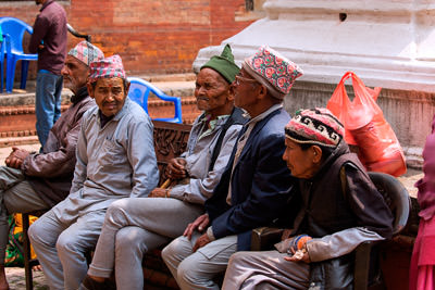 Thumbnail image of Residents of an old person's home within the Pashupati...