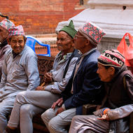 Residents of an old person's home within the Pashupati temple complex.