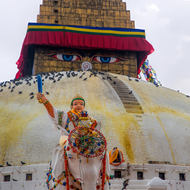 Image at the mandala (base) of the Great Boudha Stupa.