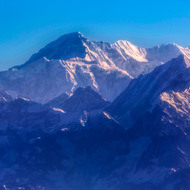 Morning view of the Himalayas from small aircraft.
