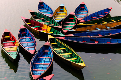 Thumbnail image of Arrangement of boats for hire on Phewa Lake.