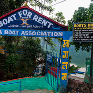 Boats for hire rate schedule at Phewa Lake.