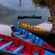 Wel come: boats for hire on Phewa Lake.