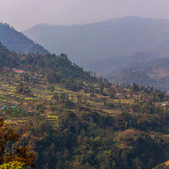 Panorama of hillside farms lining the Ghobang Khola on the road from Pokhara.